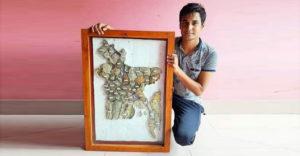 ৬৪ জেলার মাটি দিয়ে দেশের মানচিত্র বানালেন শুভ